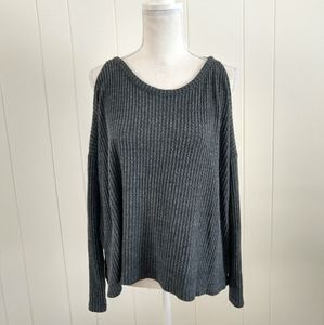 Plush shift and sexy cold shoulder sweater